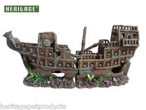 HERITAGE WS005M AQUARIUM FISH TANK X/LARGE GALLEON SHIP BOAT WRECK ORNAMENT 55CM