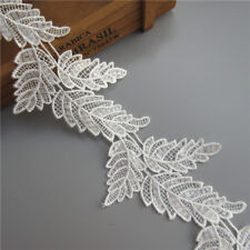 1 yd Leaves Embroidered Lace Edge Trim Ribbon Wedding Applique DIY Sewing Craft