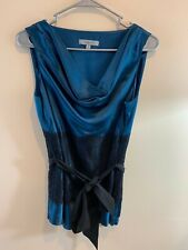 Classiques Entier Silk Sleeveless Side Zip Lace Tie Belt Top SZ MED