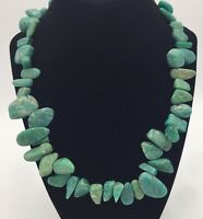 Southwest Semi Precious Green Blue Stone Necklace Bracelet Stunning Heavy