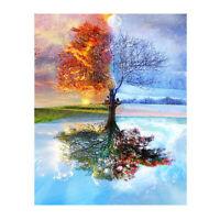 1X(Frameless Four Seasons Tree Landscape DIY Painting By Numbers Kit Paint U5U4