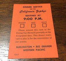 California Zephyr - Dinner Service Card 9:00 Pm