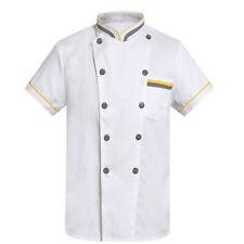 Men Uniform Short Sleeve Chef Coat Double Breasted Hotel Restaurant Work Jacket
