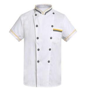 Unisex Chef Jacket Double-breasted Short Sleeve Coat Restaurant Kitchen Uniform