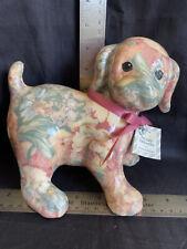 Vtg Porcelain Patchworks Joan Baker Calico Porcelain Puppy Dog Statue Figurine