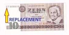 DDR 10 Mark 1971  1985 Democratic Republic REPLACEMENT ZT0395010 P# 28b UNC e440