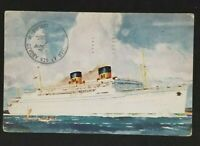 1951 San Francisco CA to Beverly MA Mailed at Sea Matson Lurline Postcard Cover