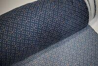 "Navy Blue Orange Paisley Print Georgette Gauze Fabric Craft Apparel 45""W #21"