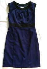 Merona Womens Size 10 Dress Sheath Cap Sleeves Blue Lined Stretch Career