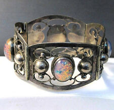 Vintage Hecho en Mexico Silver Abalone Shell Bracelet with Unique Colored Stones