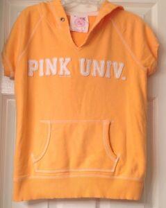 Victoria's Secret PINK University sweatshirt hoodie, yellow, logo, size S, EUC