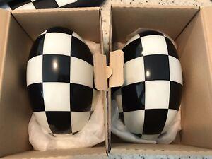 FREE SHIP! Mini Cooper R56 Black & White Checkered Rear View Mirror Covers