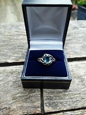GEMS TV LONDON BLUE TOPSZ SILVER RING WITH CERTIFICATE OF AUTHENTICITY