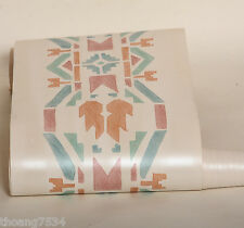 Tan Teal Green Cream Southwest Southerwestern Indian Geometric Wall paper Border