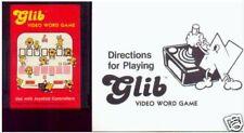 GLIB & MANUAL EXTREMELEY RARE 9 ATARI 2600 or 7800 MINT