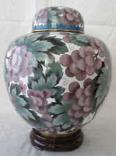 "9"" China Grapes Design Chinese Beijing Cloisonne Cremation Urn - New"
