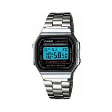 Casio Men's Quartz Digital Alarm Silver-Tone Bracelet 32mm Watch A168W-1