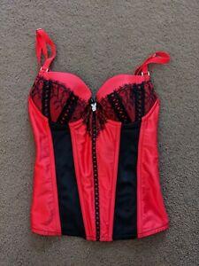 Playboy Corset Black Red Size 10B (AU), 32B (US), 32C (UK), 70C (INTL)