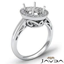Halo Pave Set Platinum Diamond Engagement Filigree Ring Oval Semi Mount 0.36Ct