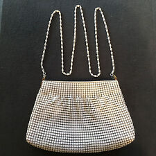White Mesh Metal Clutch Chainmail Purse Evening Bag Snake Chain Strap Shoulder
