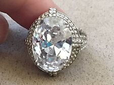 French Clear Quartz Sterling Silver 925 Ring stamped C^A- Size 7