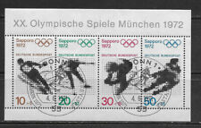 GERMANY, 1972 WINTER OLYMPIC , SPORTS , SOUVENIR SHEET W/1ST DAY CANCEL, CTO/NH