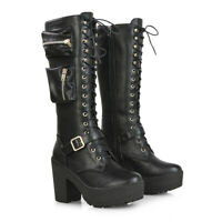 Womens Knee High Boots Chunky Sole Platform Heel Ladies Pouch Zip Lace Up Biker