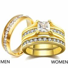 2 Rings Couple Rings Titanium Steel Yellow Gold Filled CZ Women's Wedding Rings
