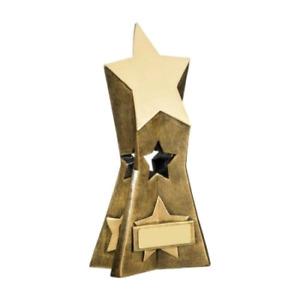 3D Bold Star Trophy Gold - School Award Trophies Achievement - FREE Engraving