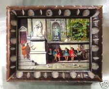 "Very Detailed Oil Painting ""Museum Entrance"" w/ Wooden Carved Vintage Frame 5x6"""