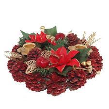 Premier Christmas Table Decoration 20cm Dressed Candle Anneau - Red