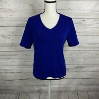 Chico's Womens The Ultimate Tee Size 1 Medium Blue Short Sleeve Top 100% Cotton