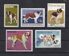 Art Body Study Postage Stamp Collection Saint St Bernard Dog 5 x Vintage Mnh