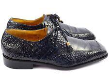 Giorgio Brutini Mens Black Croc Leather Square Toe Oxfords Sz 11.5 Wide