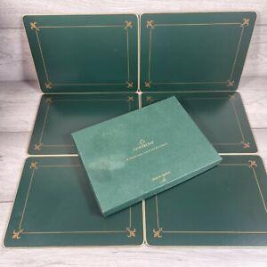 Cloverleaf Set of 6 Cork Back Placemats Green Gold Border - Cork Backed