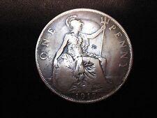 1917 British One Penny King George Reverse PIDT Error