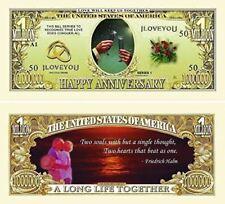 "50 Happy Anniversary Million Dollar Bills with Bonus ""Thanks a Million"" Gift Car"