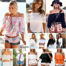 Womens Summer Casual Boat Neck Blouse Boho Shirt T-shirt Ladies Beach Clothes
