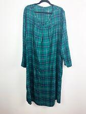 Catherines Nightgown womens 2X Green Plaid long mumu soft long sleepshirt pajama