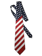 American Flag Mens Neck Tie USA Patriotic NeckTie  58 Inches Long Red-White-Blue