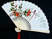 CHINESE RED FLOWER LOVE BIRD WHITE PAPER HAND FAN JAPANESE BIRTHDAY SUMMER PARTY