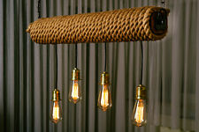Chandelier/ Ceiling Light / Pendant Light / Retro Antique Wood,Iron,Rope