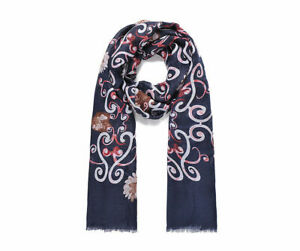 93753 Navy floral print scarf 80 x 180cm approx