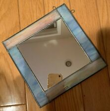 Beautiful Varigated Blue Stained Glass Accent Wall Mirror Small Handcrafted