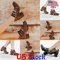 Women Vintage Round Toe Block Heel Boots Comfort Belt Buckle Casual Single Shoes