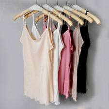 Women Ladies Sexy Pure Silk Camisole Strap Tank Top Vest Spaghetti Soft White