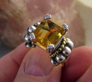 Estate Vintage Large LAGOS CAVIAR Sterling Silver 18k Yellow Gold Citrine Ring