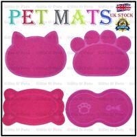 Pink Cat Kitten Dog Puppy Food Feeder Pvc Mat Placemat 4 Shapes Non Slip No Mess