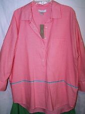 J CREW Popover Women Blouse Red Stripe Size 8 100% Cotton Roll Up Sleeves NWT