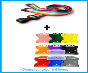 Rainbow Lanyard for NHS Healthcare Staff + Single ID Card Holder - Landscape